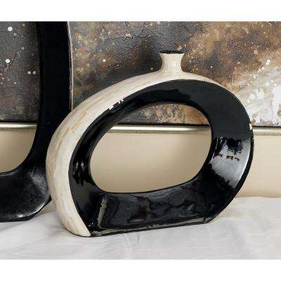 12 in. Lopsided Black and White Ceramic Shell Decorative Vase