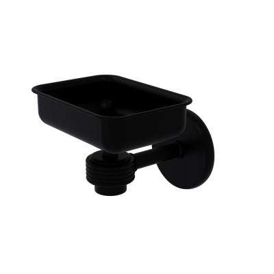 Satellite Orbit One Wall Mounted Soap Dish with Groovy Accents in Matte Black