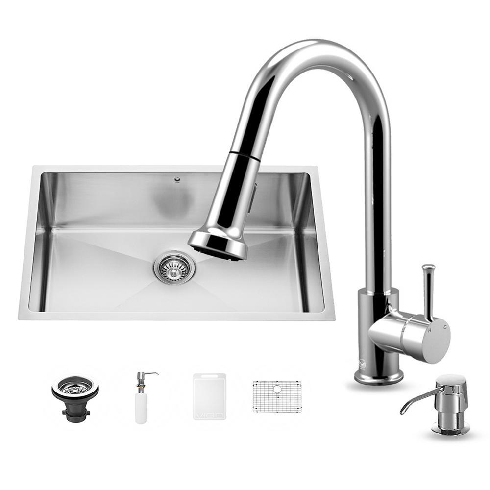 Vigo all in one undermount stainless steel 30 in single basin kitchen sink in chrome vg15249 - Vigo sink accessories ...