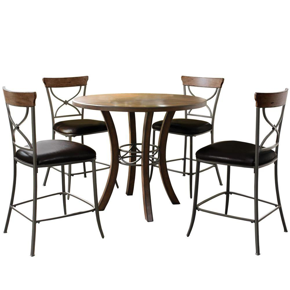 Hillsdale Furniture Cameron 5-Piece Chestnut Brown X-Back Dining Set