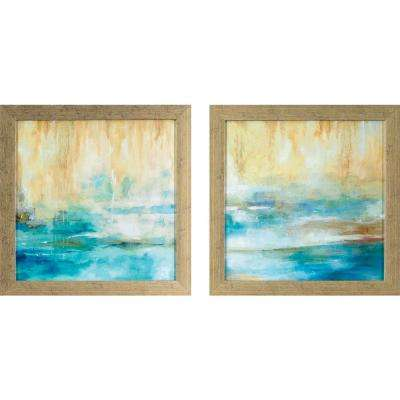 13.75 in. x 13.75 in. Turquoise Waters Printed Framed Wall Art (Set of 2)