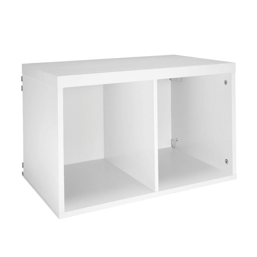 15 in. H x 24 in. W x 14 in. D White Wood Look 2-Cube Storage Organizer