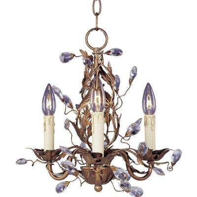 Elegante 3-Light Etruscan Gold Mini Chandelier