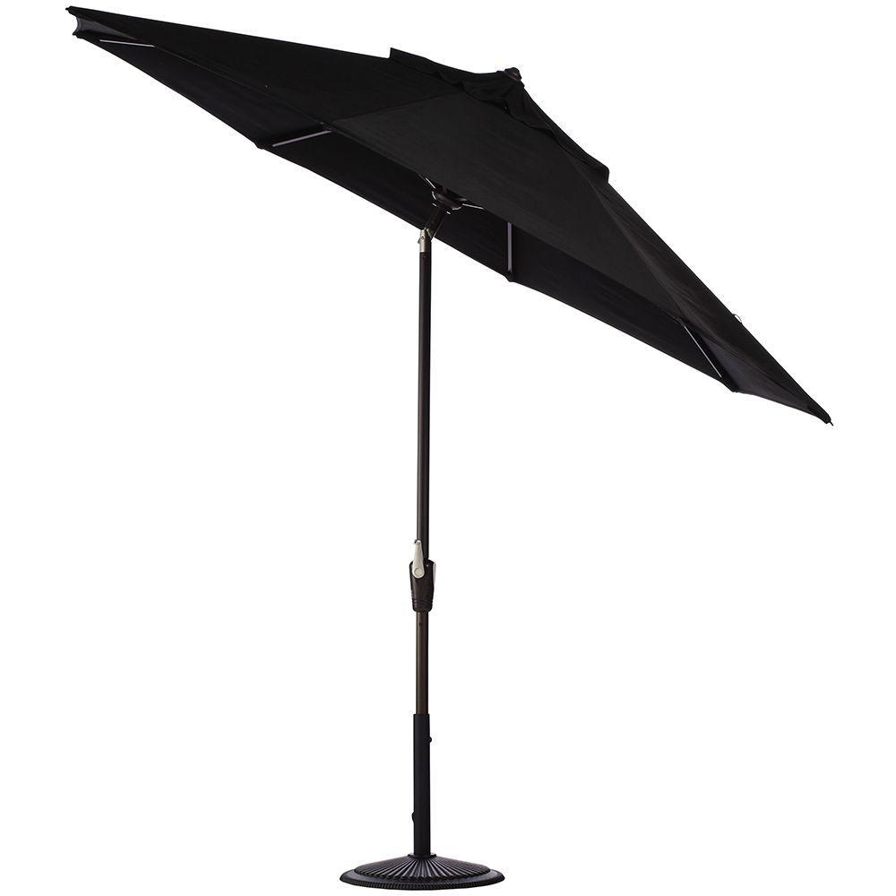 Home Decorators Collection 6 ft. Auto-Tilt Patio Umbrella in Black Sunbrella with Black Frame