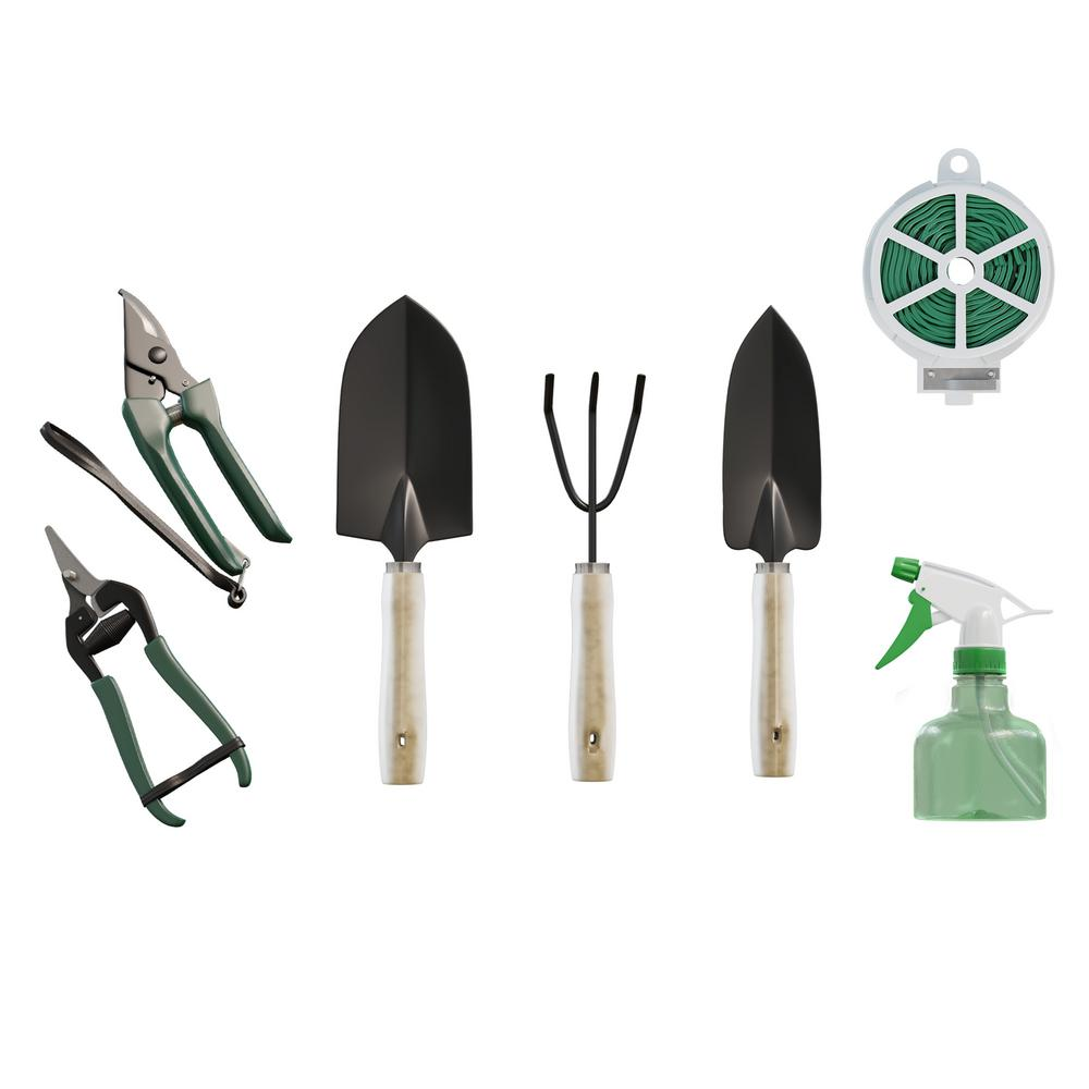 Pure Garden Gardening Hand Tool Set And Tote 8 Piece Hw155043