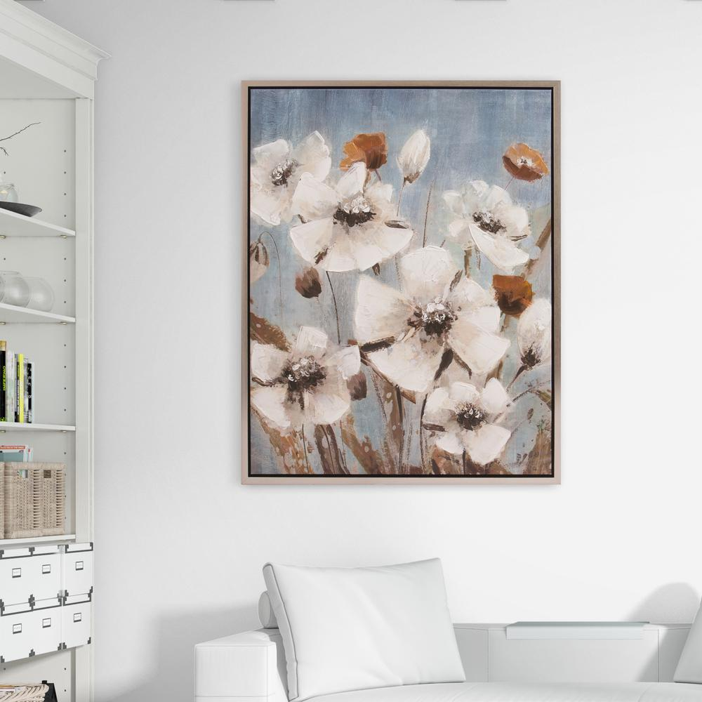 Pinnacle White Poppy Filed Floral Framed Canvas Wall Art-1711-3401 ...