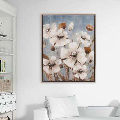 White Poppy Filed Floral Framed Canvas Wall Art