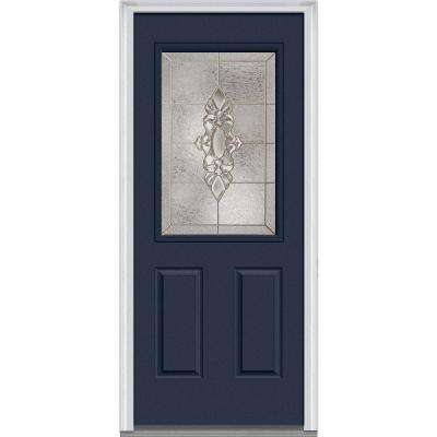 36 in. x 80 in. Heirloom Master Right-Hand Inswing 1/2-Lite Decorative 2-Panel Painted Steel Prehung Front Door
