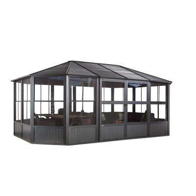 Charleston 12 ft. x 18 ft. Aluminum Octagonal Solarium in Dark Gray