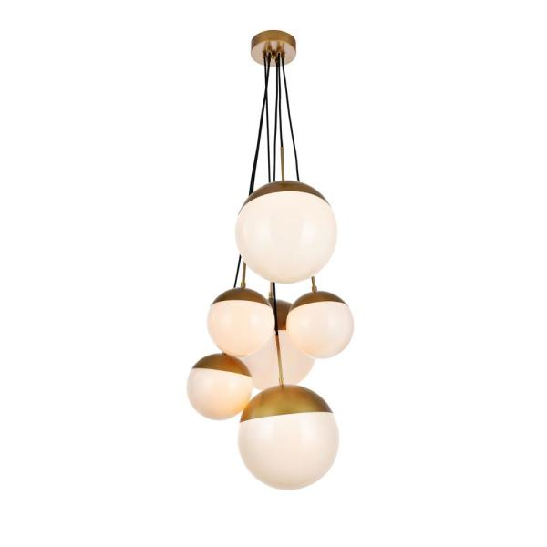 Timeless Home Eden 6-Light Brass Pendant with 8 in./12 in. W x 7.5 in./11.5 in. H Frosted White Shade