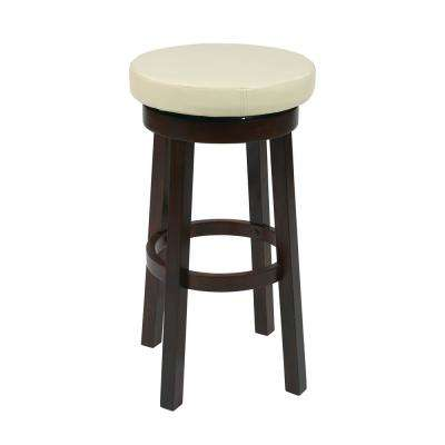 Metro 30 in. Cream Faux Leather Round Barstool