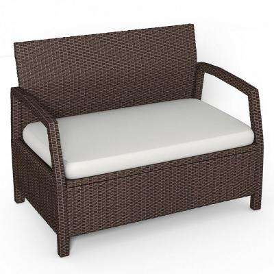 Rattan Wicker Outdoor Bench With Beige Cushion Loveseat Couch Chair Patio Furniture Brown