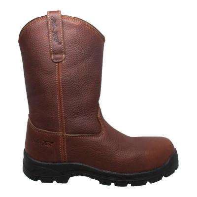 Men's Size 11 Brown Grain Tumbled Leather 12 in. Wellington Work Boots