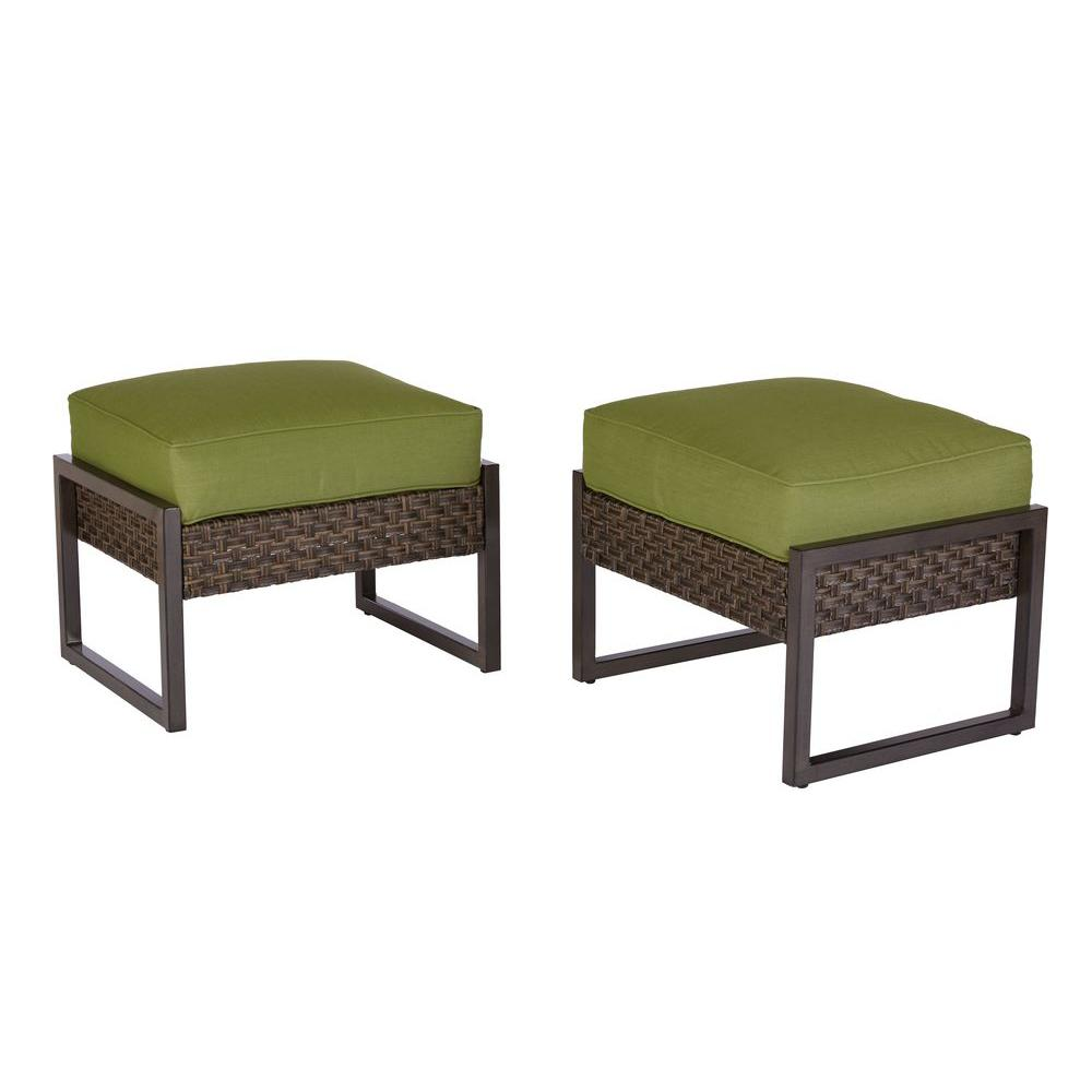 Hampton Bay Carol Stream Metal And Woven Patio Ottomans With Cushions 2 Pack S2 Agl07508 The