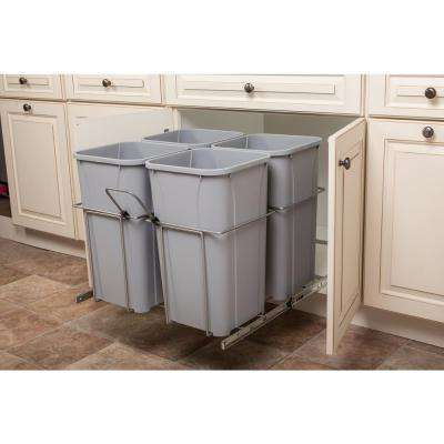 23.375 in. x 22 in. x 18.813 in. 27 Qt. In-Cabinet Double Soft-Close Bottom-Mount Pull-Out Trash Can