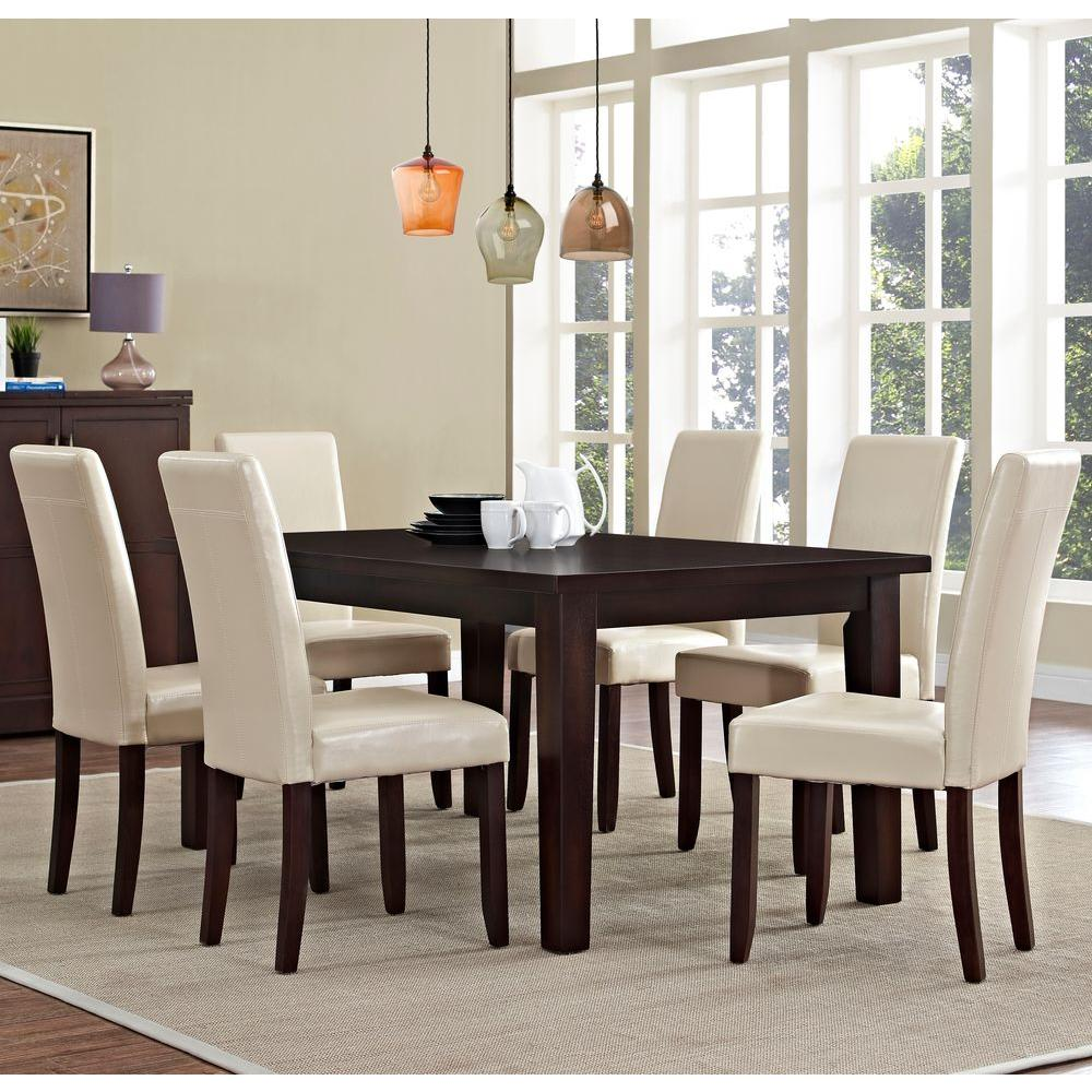 Acadian 7 Piece Satin Cream Dining Set