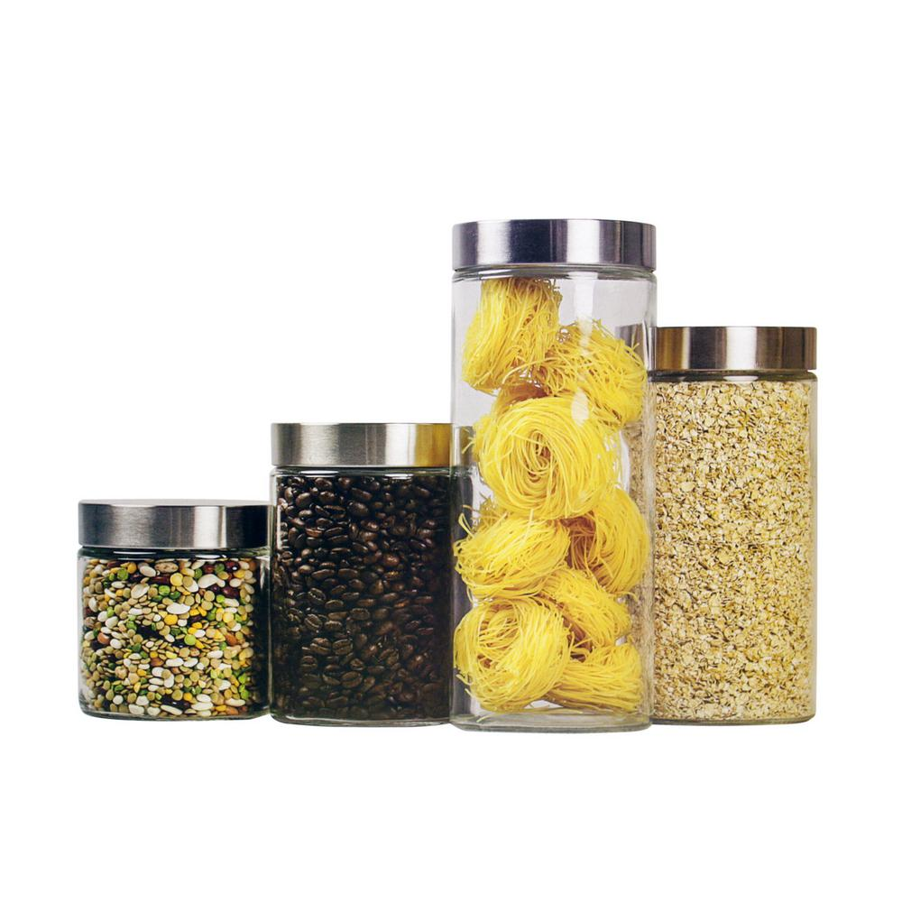 Gentil HOME Basics 4 Piece Glass Canister Set