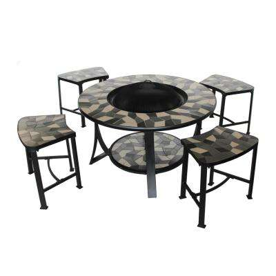 20 in. x 24 in. Round Tile Metal Rustic Convertible Wood Burning Fire Pit Table with Chairs in Grey