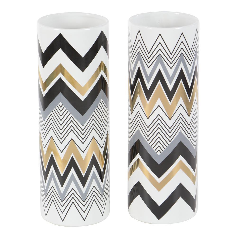 14 in. White Ceramic Decorative Vase with Multi-Colored Chevron Patterns (Set of 2)