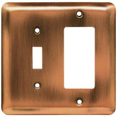 Stamped Round Decorative Switch and Rocker Switch Plate, Antique Copper