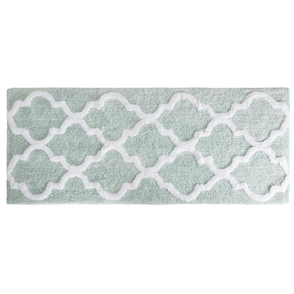 lavish home trellis seafoam 24 in x 60 in bathroom mat - Bathroom Mats