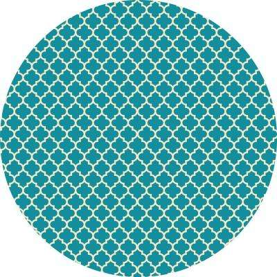 Quaterfoil Circle Design 5ft x 5ft - Teal & white Indoor/Outdoor vinyl rug.