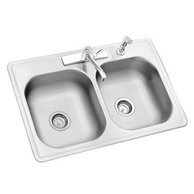 All-in-One Drop-In Stainless Steel 33 in. 4-Hole Double Bowl Kitchen Sink