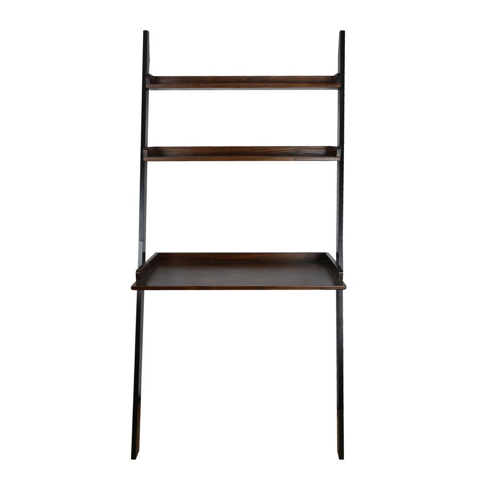 Soho 2-Tone Black, Mocha Leaning Bookcase