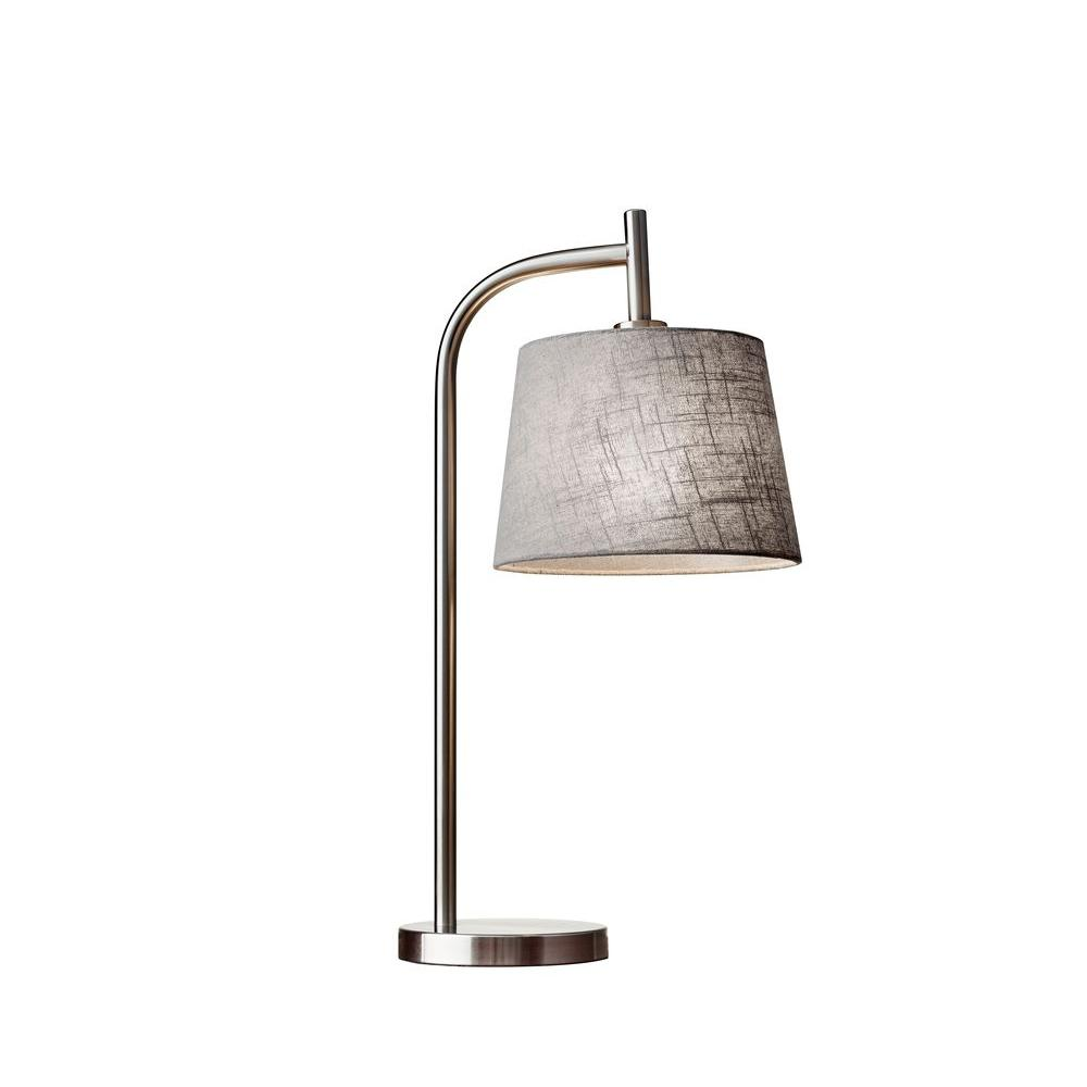 Adesso blake 25 in brushed steel table lamp 4070 22 the home depot brushed steel table lamp aloadofball Gallery
