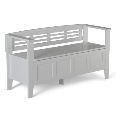 Adams Solid Wood 48 in. Wide Rustic Entryway Storage Bench in White