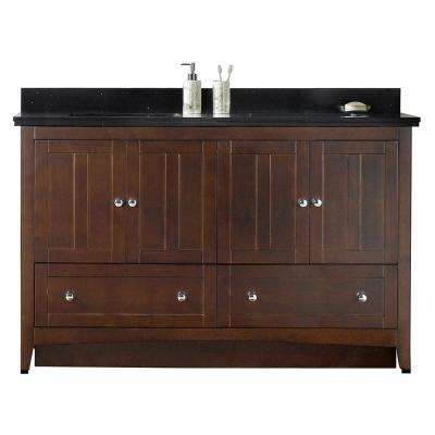 16-Gauge-Sinks 59 in. W x 18.25 in. D Bath Vanity in Walnut with Stone Vanity Top in Black Galaxy with Biscuit Basin