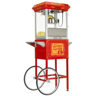 8oz Premium Red Silver Popcorn Popper Machine Maker Cart