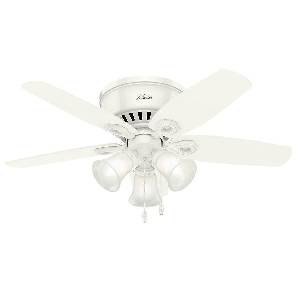 Hunter White Fan Part - 27: Hunter Builder Low Profile 42 In. Indoor Snow White Ceiling Fan