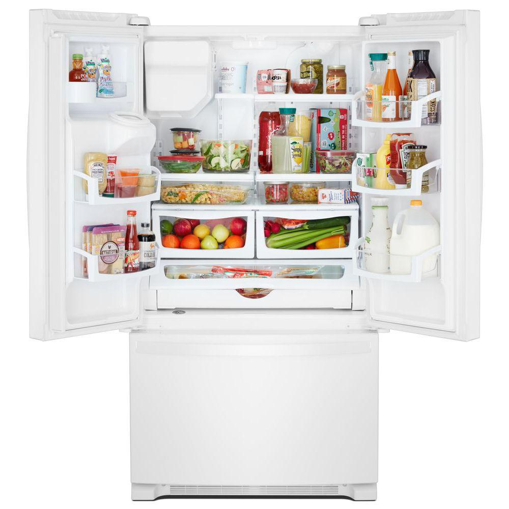 Whirlpool 25 Cu Ft French Door Refrigerator In White Wrf555sdhw The Home Depot