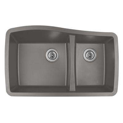 Undermount Quartz Composite 33 in. 60/40 Double Bowl Kitchen Sink in Concrete