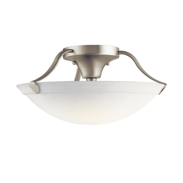 Independence 15.5 in. 3-Light Brushed Nickel Semi-Flush Mount Ceiling Light with Etched Glass