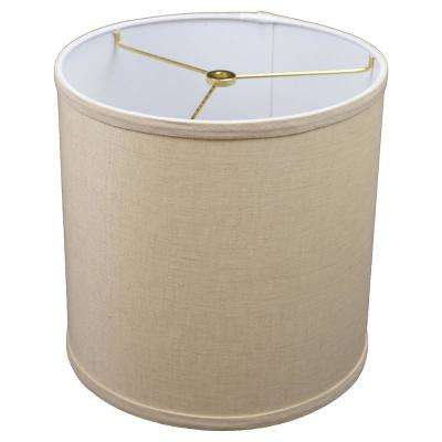 10.5 in. W x 10.5 in. H Natural/Brass Hardware Drum Lamp Shade
