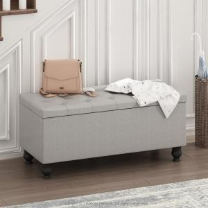 Furinno Laval 18 in. Button Tufted Storage Ottoman Bench