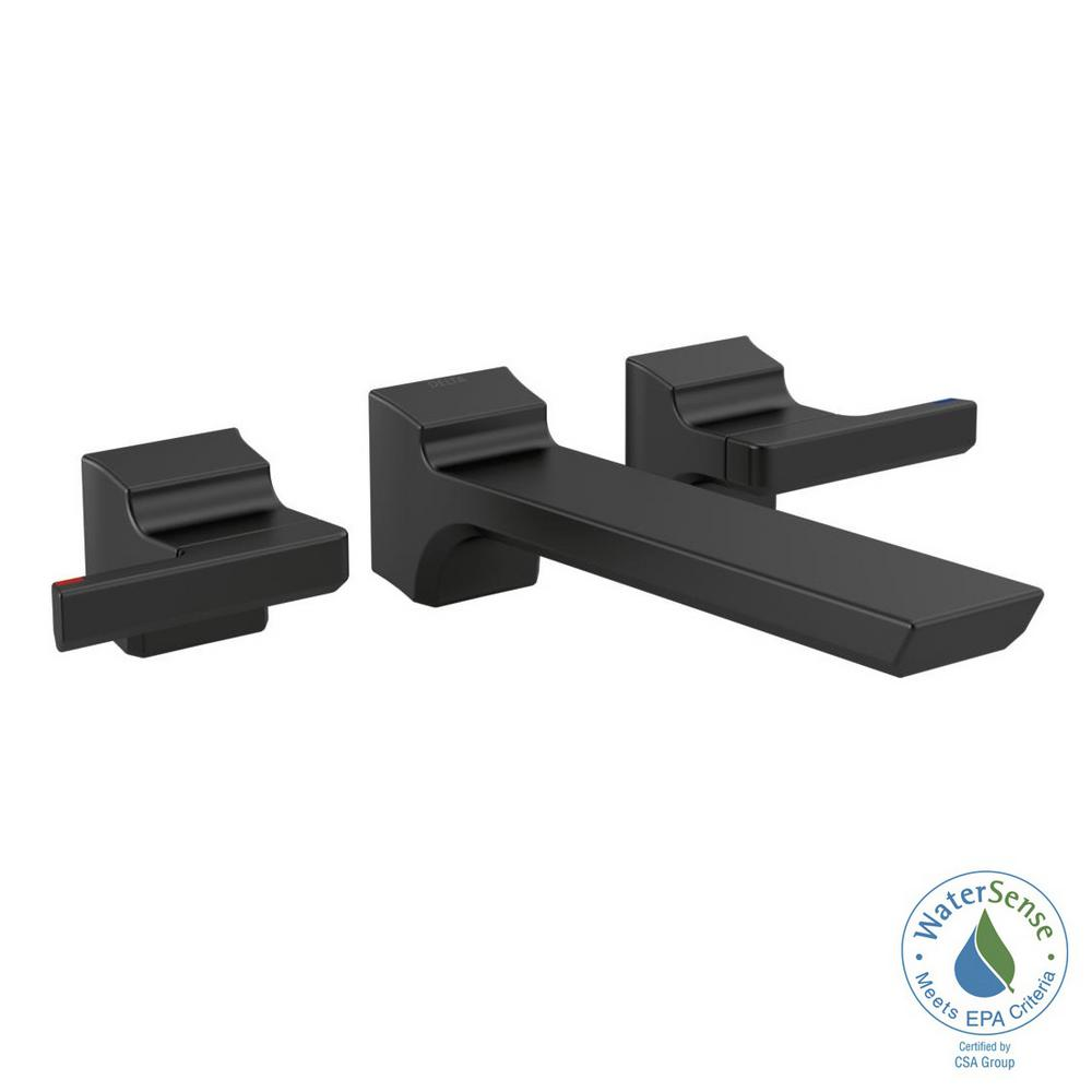 Pivotal 2-Handle Wall-Mount Bathroom Faucet Trim Kit in Matte Black (Valve