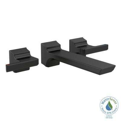 Pivotal 2-Handle Wall-Mount Bathroom Faucet Trim Kit in Matte Black (Valve Not Included)
