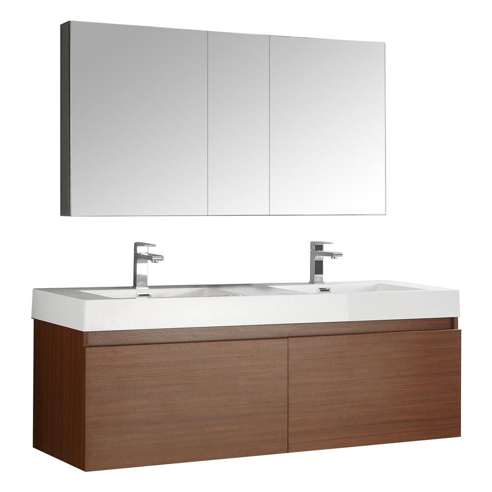 Genial Vanity In Teak With Acrylic Vanity Top In White With White Basin And  Mirrored Medicine Cabinet