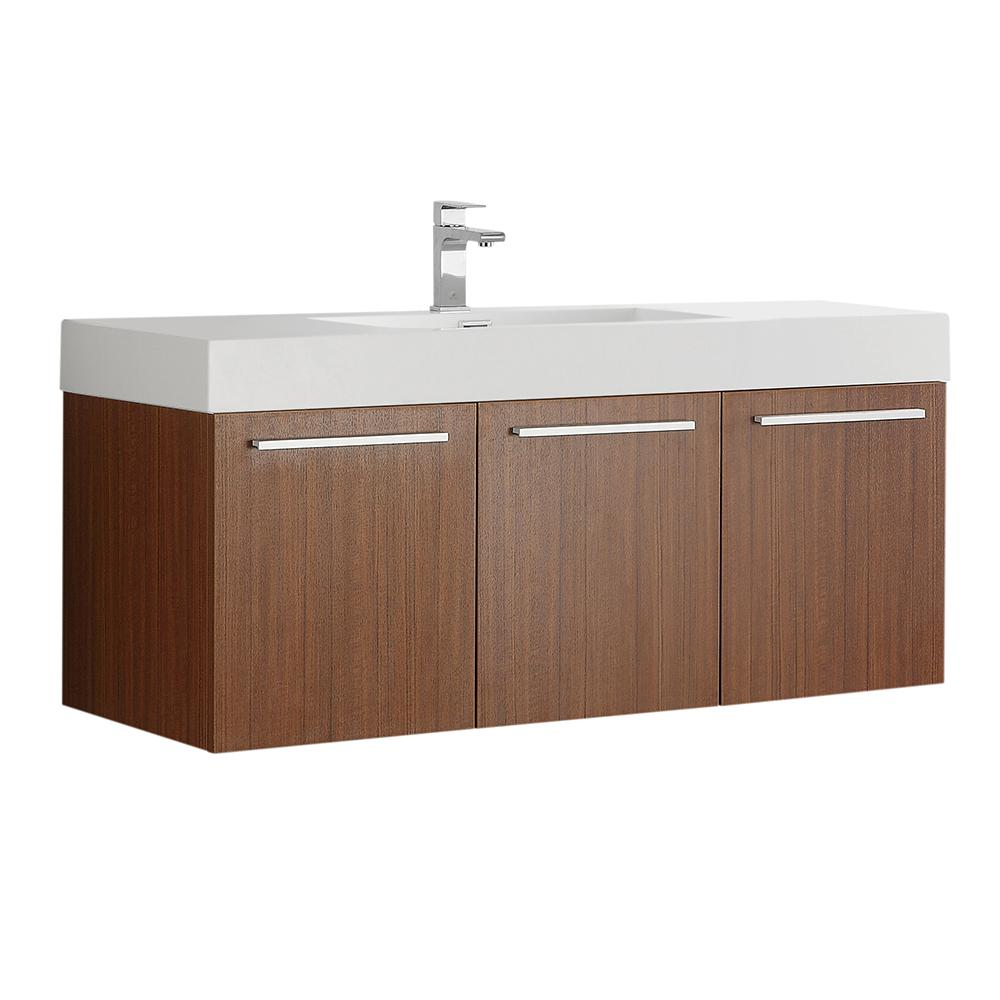 Fresca Vista 48 In Modern Wall Hung Bath Vanity In Teak