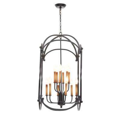 Hastings Collection 12-Light Rust Hanging Lantern