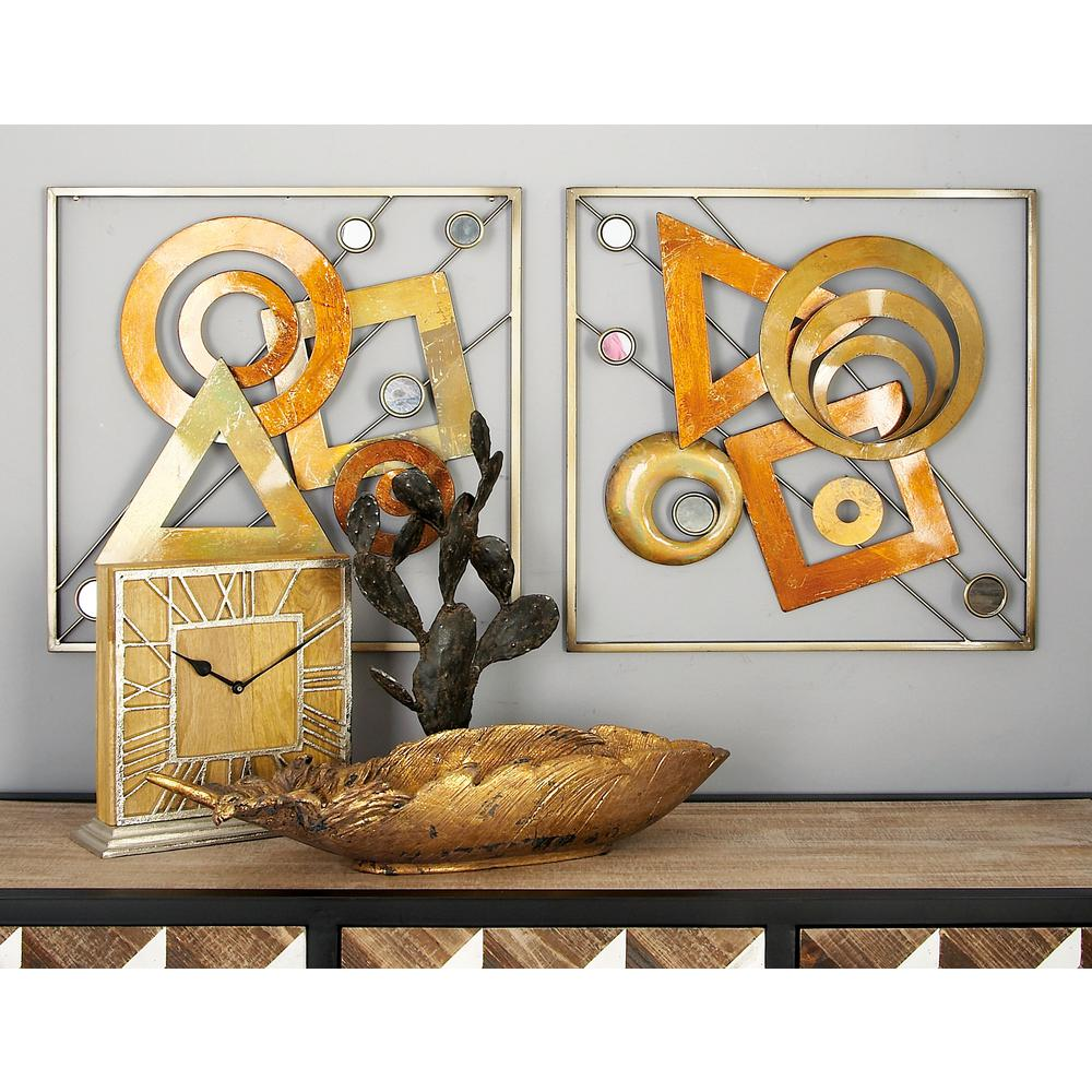20 in. x 20 in. Metal Geometric-Shaped Abstract Wall Decors (2-Piece)