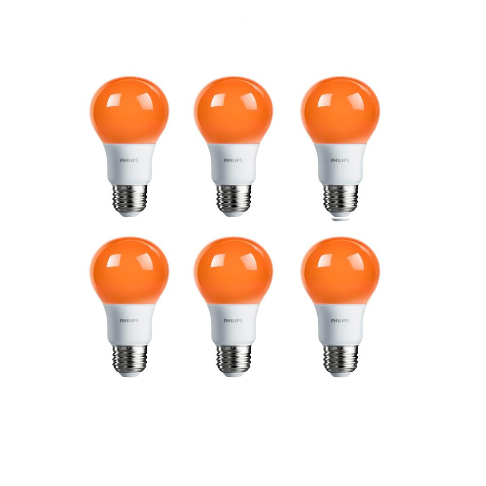 Philips 60-Watt Equivalent A19 Non-Dimmable Orange LED Colored Light Bulb (6-Pack)
