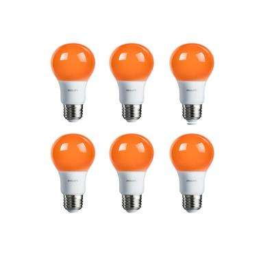 60-Watt Equivalent A19 Non-Dimmable Orange LED Colored Light Bulb (6-Pack)