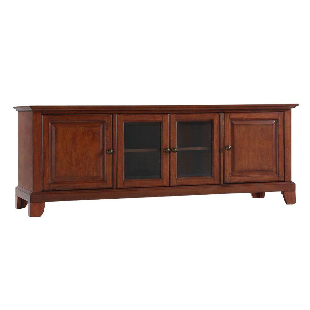 Crosley Newport Low Profile TV Stand in Cherry