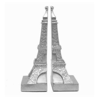 10 in. Silver Eiffel Tower Bookend (Set of 2)