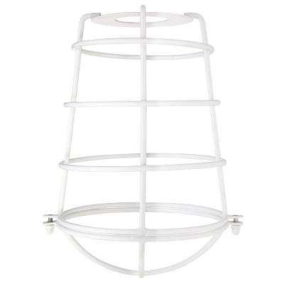 8-3/16 in. White Industrial Cage Metal Shade with 2-1/4 in. Fitter and 6-5/16 in. Width