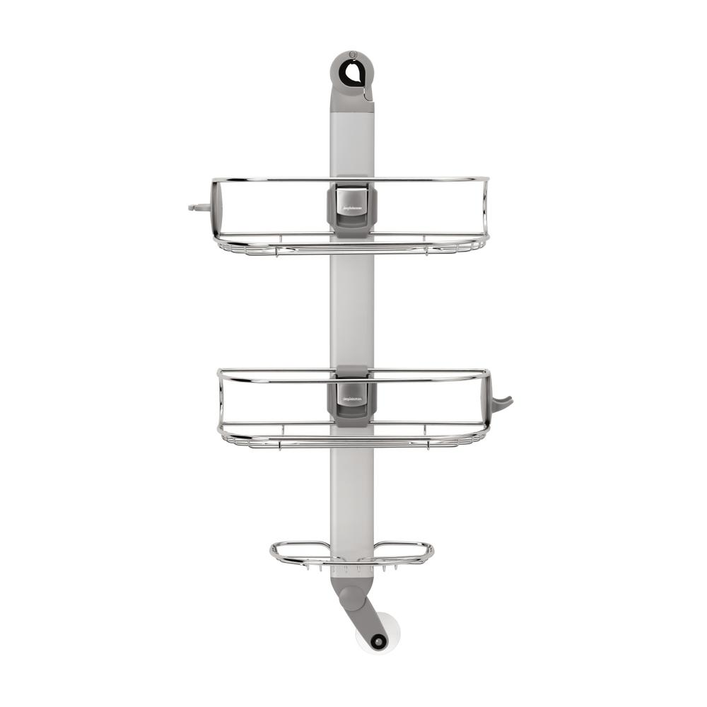 simplehuman 3-Tier Adjustable Shower Caddy in Aluminum and Stainless ...